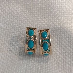 Jewelry - 14k Gold Earrings with Turquoise Color Stone
